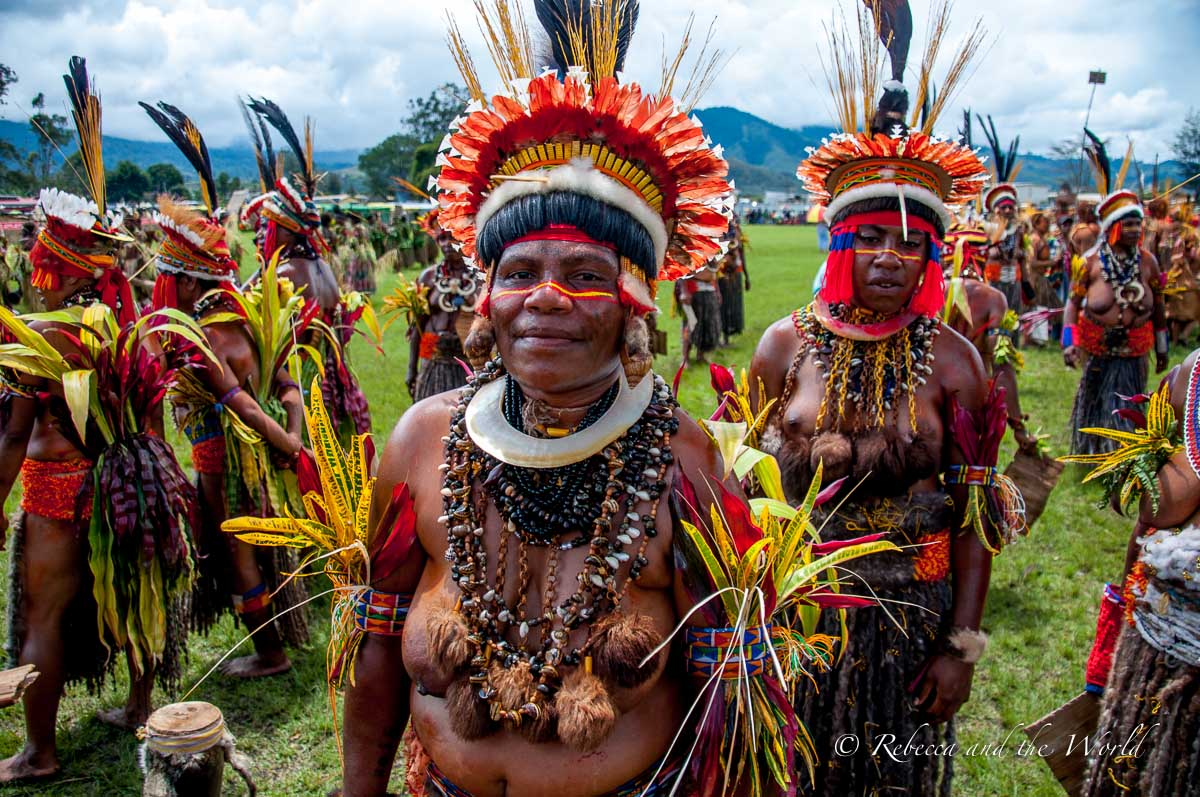 The Goroka Show is the biggest Papua New Guinea festival, with people coming from far and wide to participate in a singsing