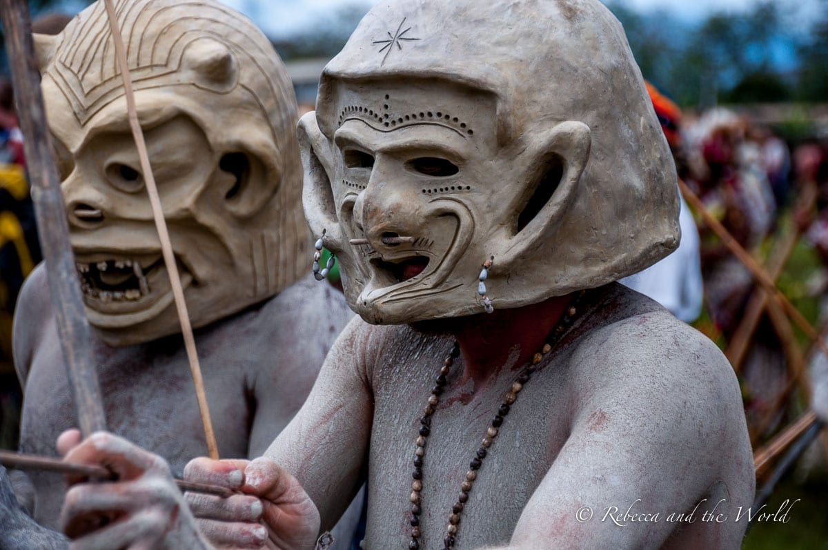 The famous Asaro Mudmen can be seen at the Hagen Show and Goroka Show in Papua New Guinea