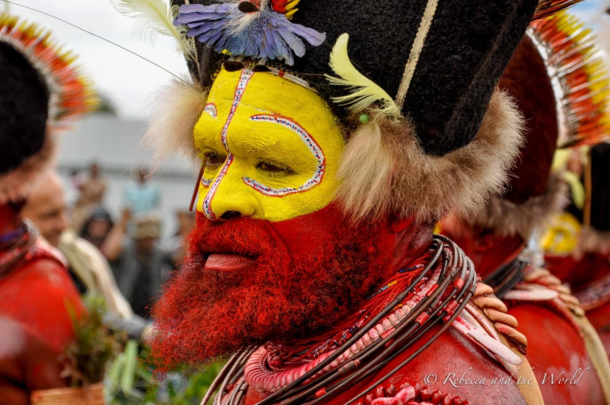 The famous Huli Wigmen can be seen at the Hagen Show in Mount Hagen in Papua New Guinea, one of the biggest Papua New Guinea festivals