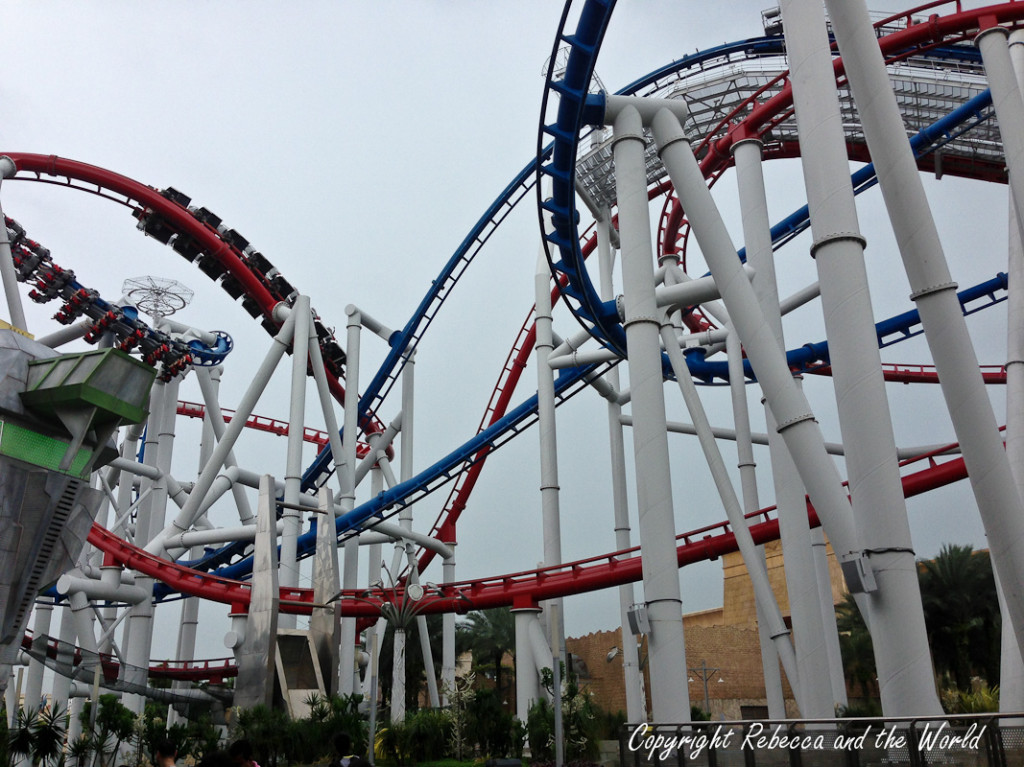 The Battlestar Gallactica ride... two rollercoasters going simultaneously