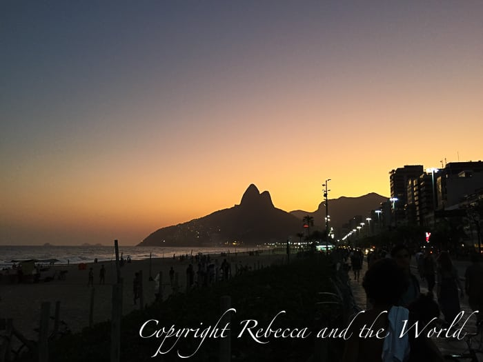 A view of Dois Irmaos at sunset, from Ipanema Beach