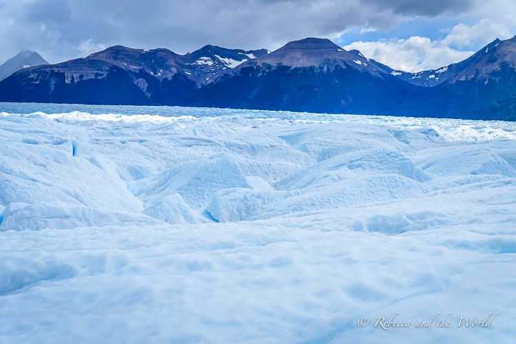 Have you ever trekked on a glacier? You can in Patagonia, Argentina. Perito Moreno Glacier is a huge glacier that is growing every day. You can see it up close on a Big Ice or Mini Trekking tour. | #Argentina #Patagonia #PeritoMoreno #glacier #PeritoMorenoGlacier #trekking #hiking #outdoors #southamerica