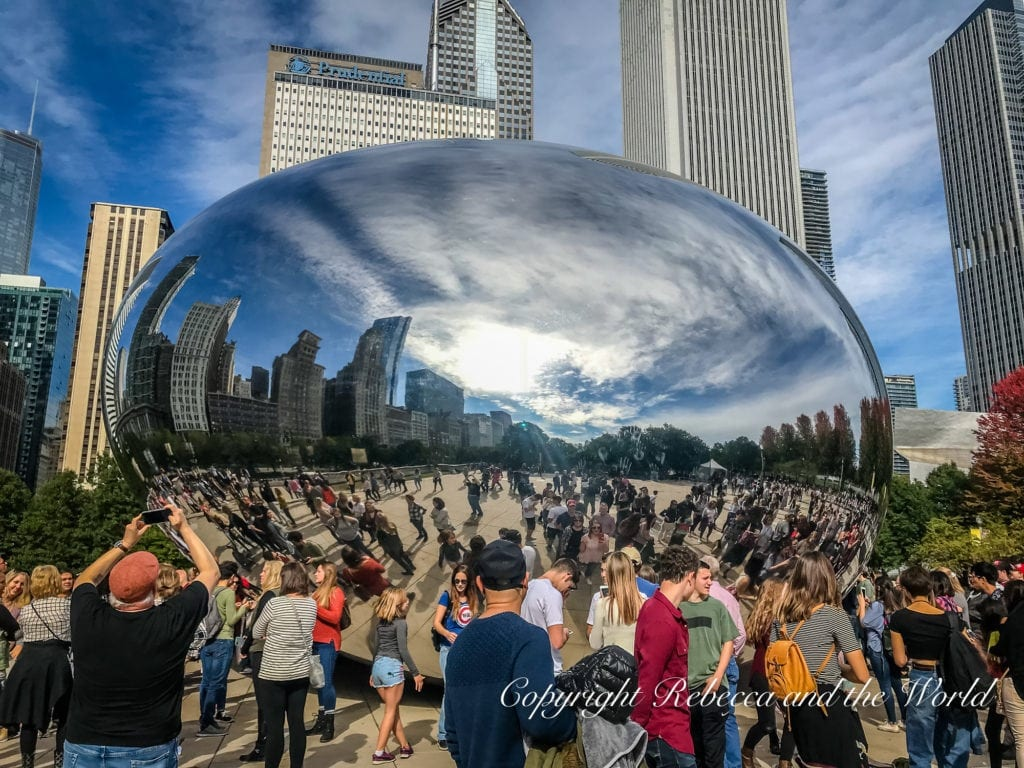 One of the most popular things to do in Chicago is visit Cloud Gate, also known as the Bean, a popular spot for taking photographs