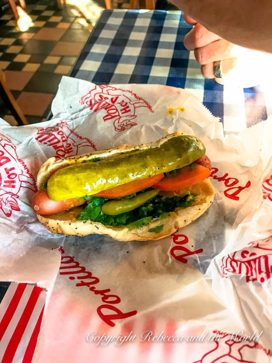 Try one of the famous Chicago hot dogs at Portillo's