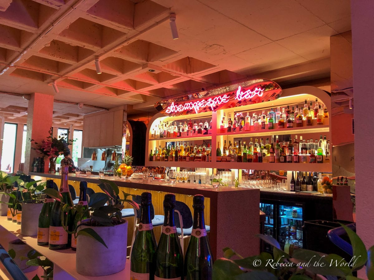 The fun pink interior at champagne and lobster bar, Pinchy's one of the most fun restaurants in Melbourne