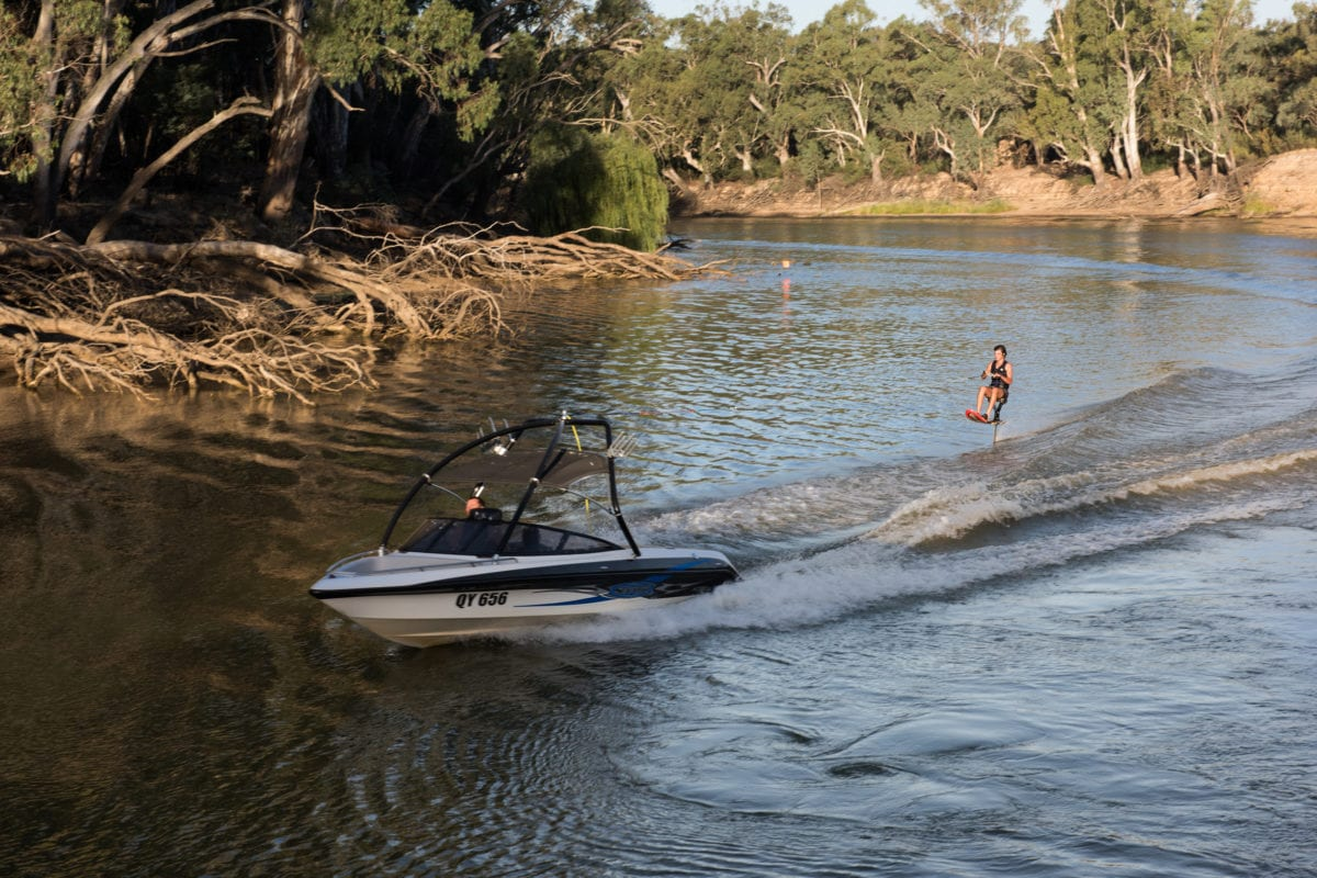 Lots of people come to waterski in Echuca - the Murray River is nice and flat for water sports