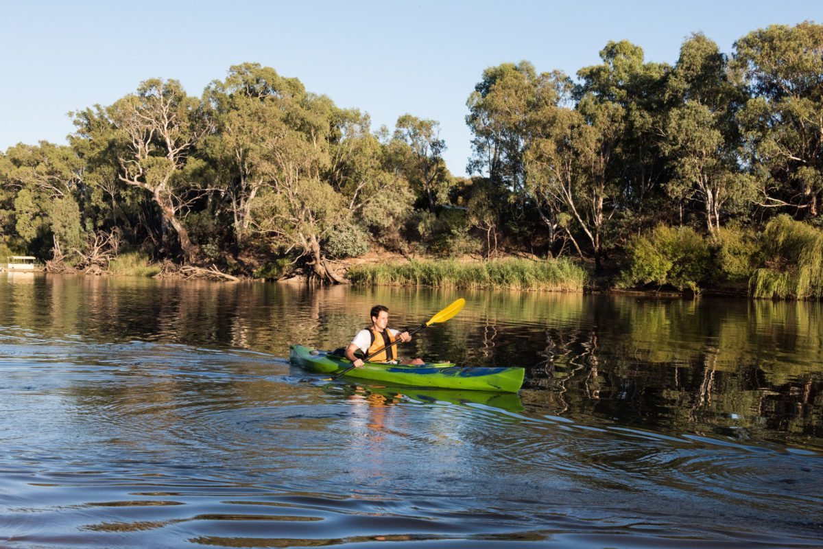 There are plenty of ways to get out on the water on the Murray River in Echuca, including kayaking