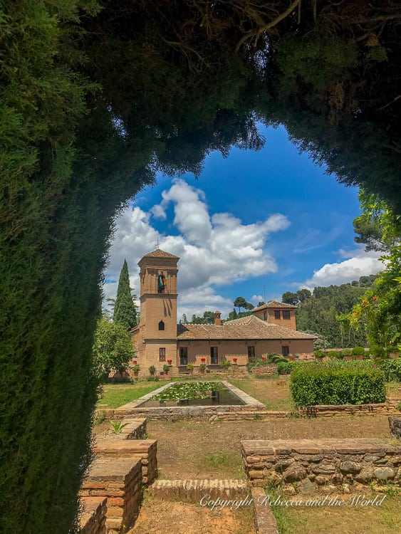 Everywhere you go, you'll see amazing views within the Alhambra in Granada, Spain - make sure to buy Alhambra tickets well in advance