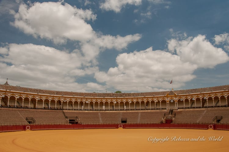 A visit to the bullfighting ring and museum in Seville, Spain, includes a view of the enormous bullfighting ring