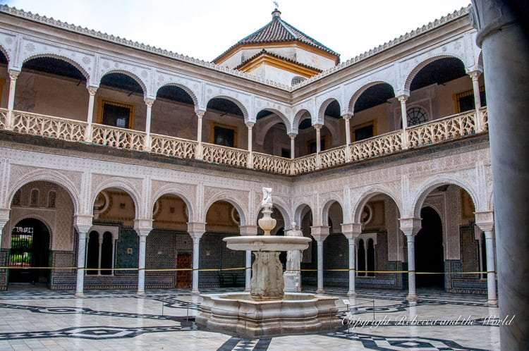 The courtyards of the Casa de Pilatos in Seville, Spain, is covered with thousands of ornate mosaic tiles