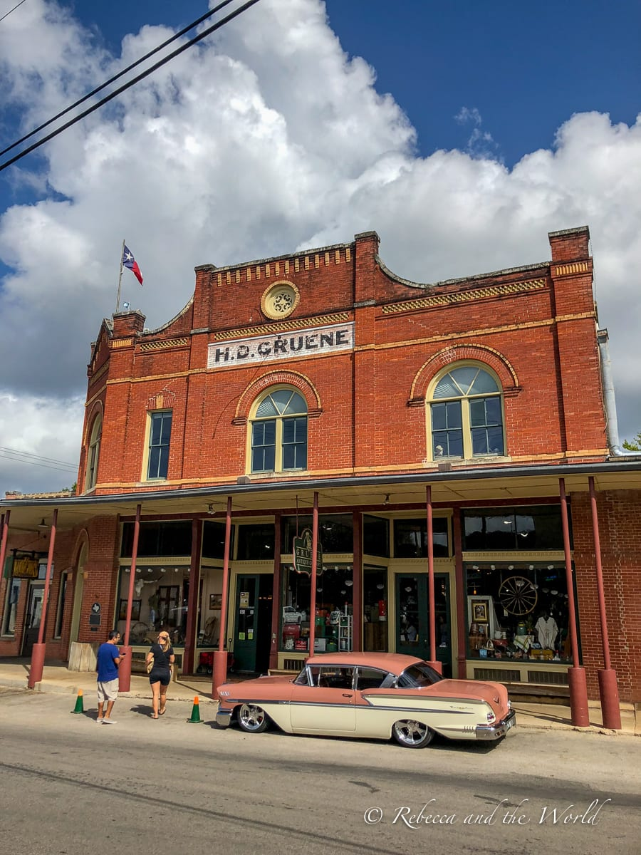 One of the best things to do in New Braunfels, Texas, is wander the historic Gruene area, where some original buildings still stand