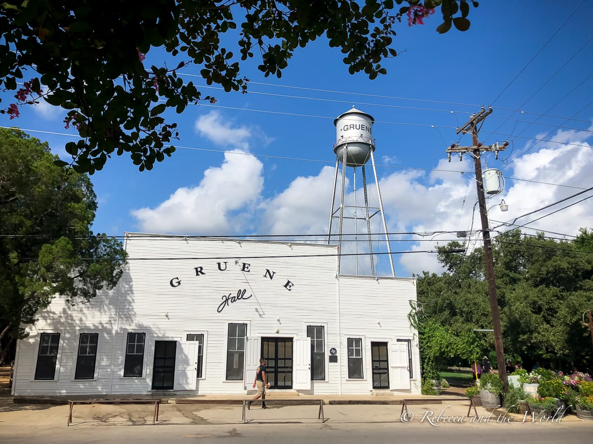 The Gruene water tower behind Gruene Hall is one of the most photographed places in New Braunfels