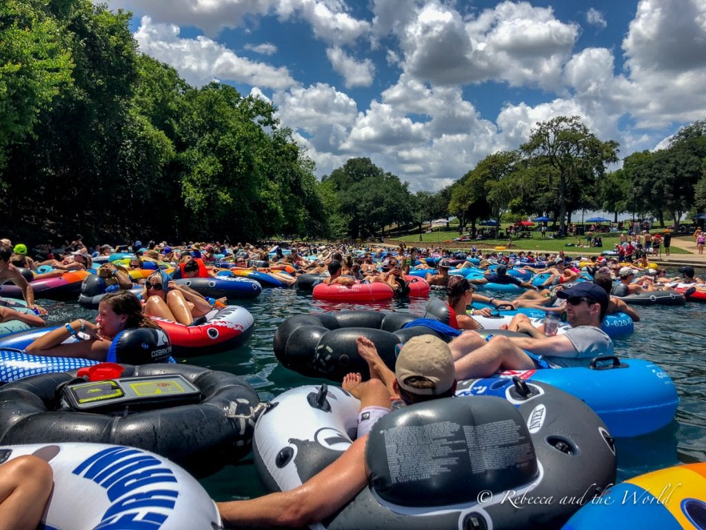 Tubing in New Braunfels is so much fun - although it can be very crowded