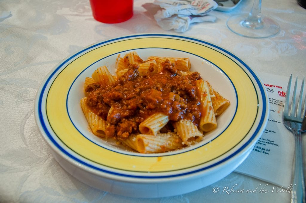 On this Boston food tour you'll get something you can't get anywhere else - a bowl of Mama Maria's rigatoni with Bolognese sauce