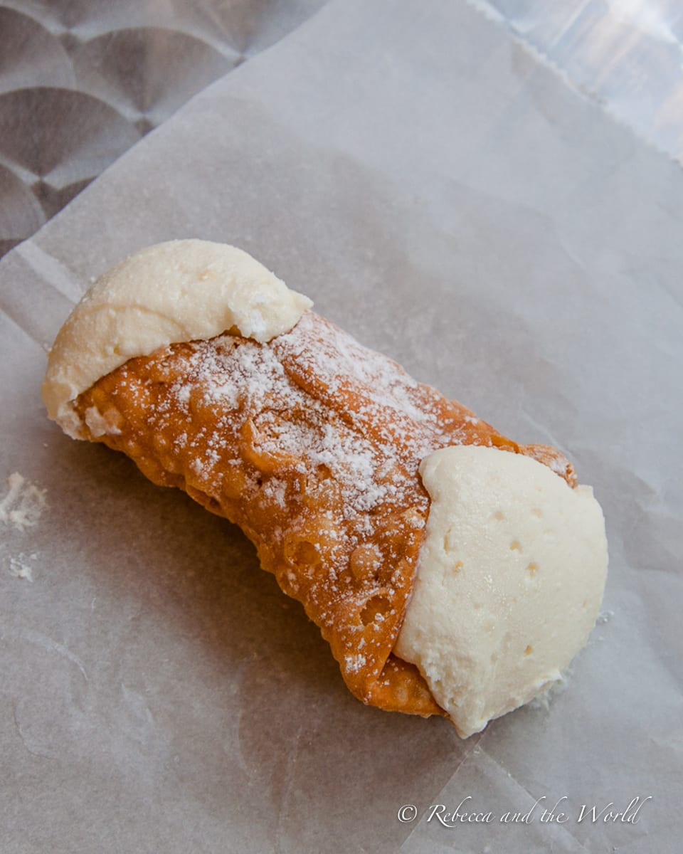"""There's a """"cannoli war"""" between Mike's Pasty and Modern Pastry in Boston - try both to see which one you prefer!"""