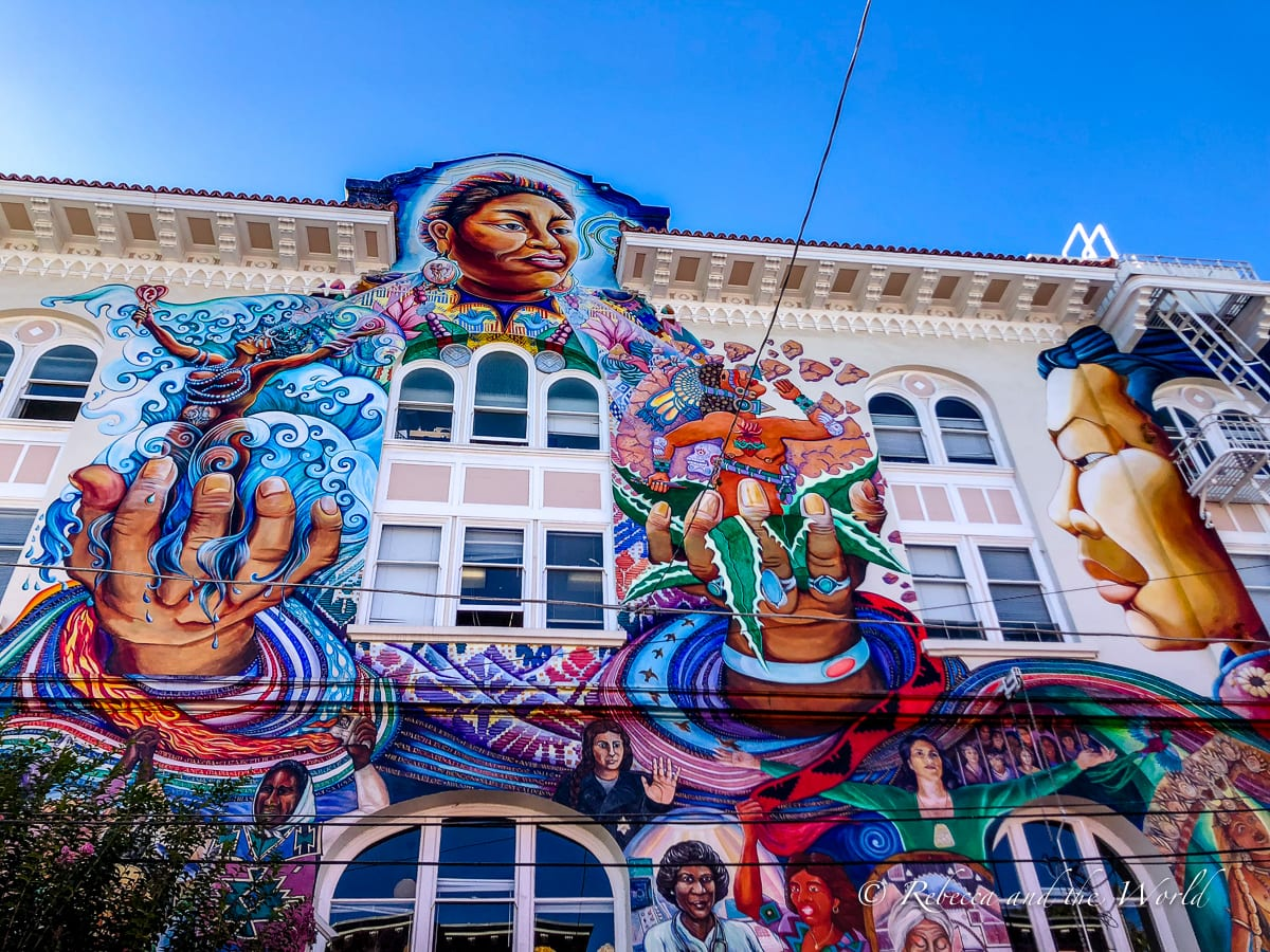 One of the most beautiful murals in San Francisco is this one on the side of the Women's Building in the Mission District