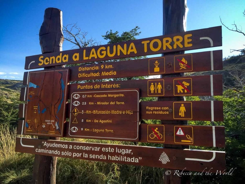 The Laguna Torre hike in El Chalten is well signed
