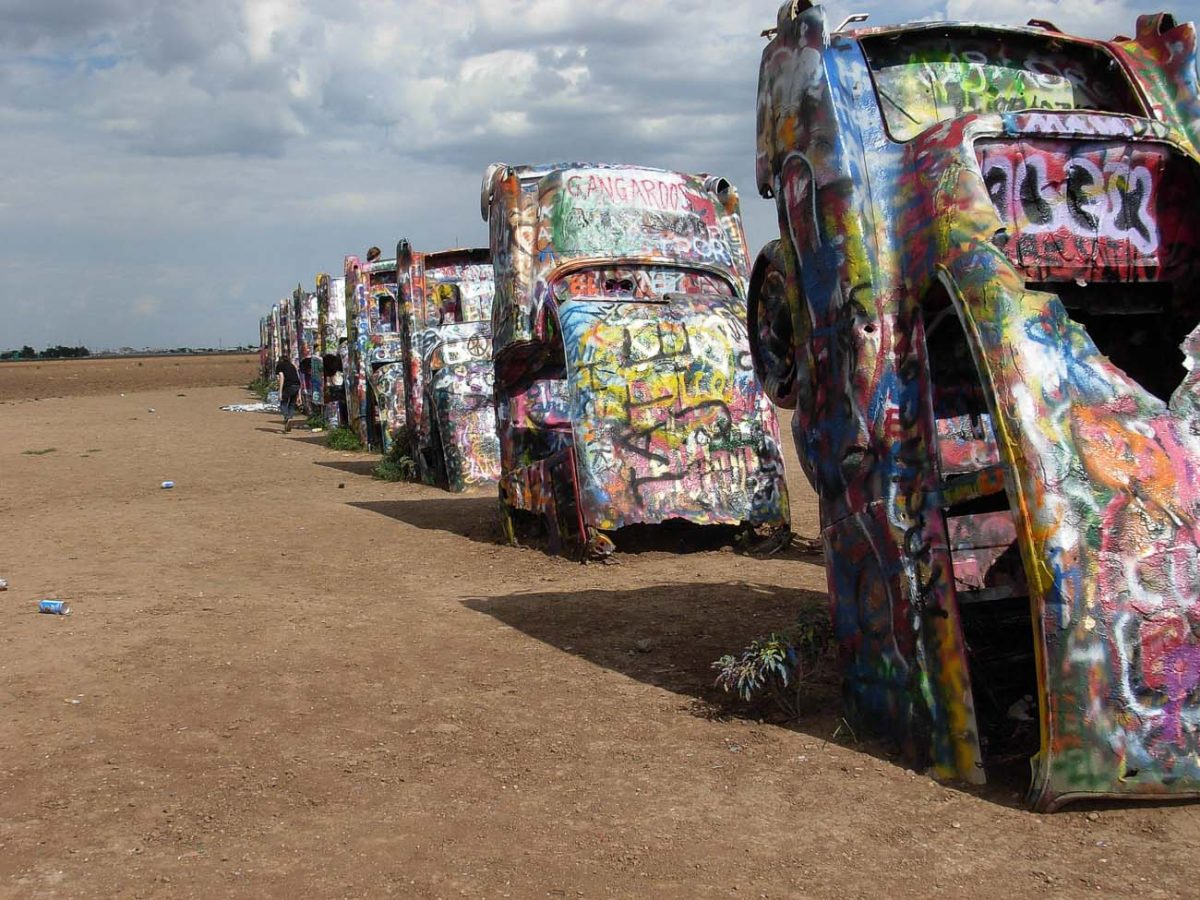 Amarillo is famous for its painted Cadillac cars in the desert