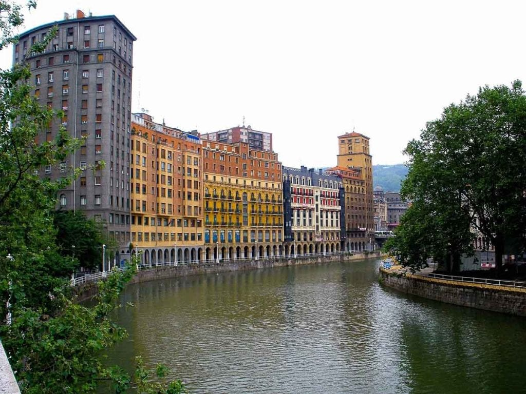 Bilbao, Spain, sits on the Nervion River, and the architecture in the city is lovely to explore