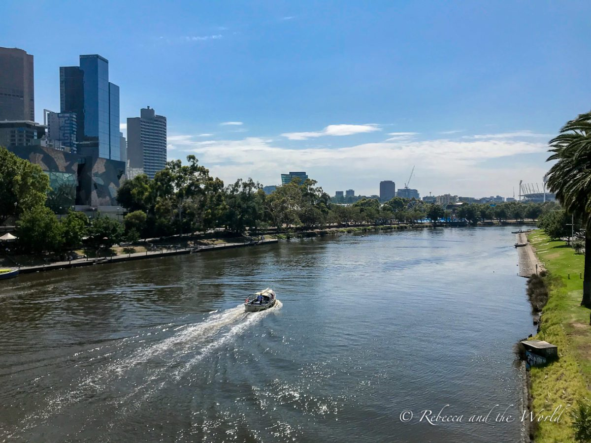 The Yarra River runs through Melbourne, and it's one of the best places to go in Melbourne for a peaceful stroll