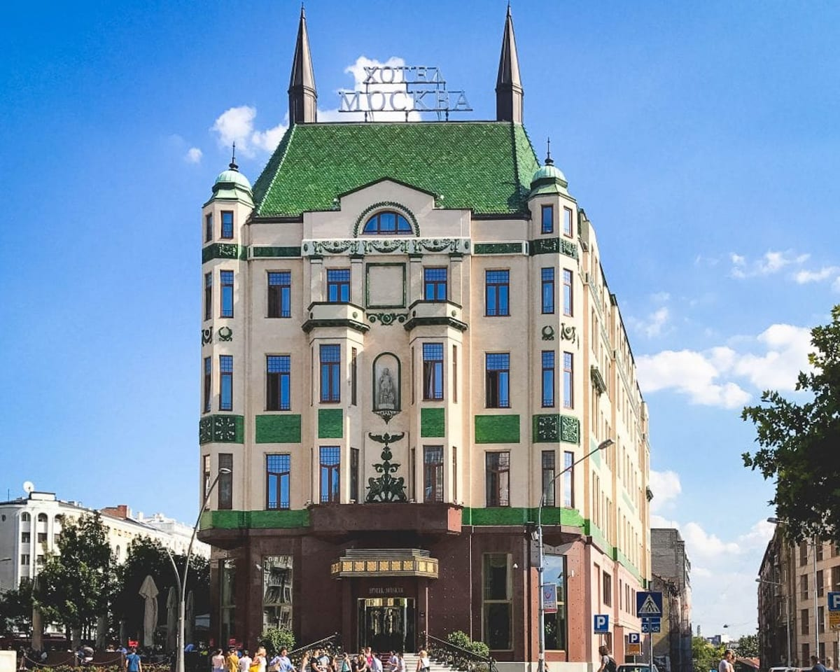 Check out Hotel Moskva's unique architecture - but go inside for their famous cake!