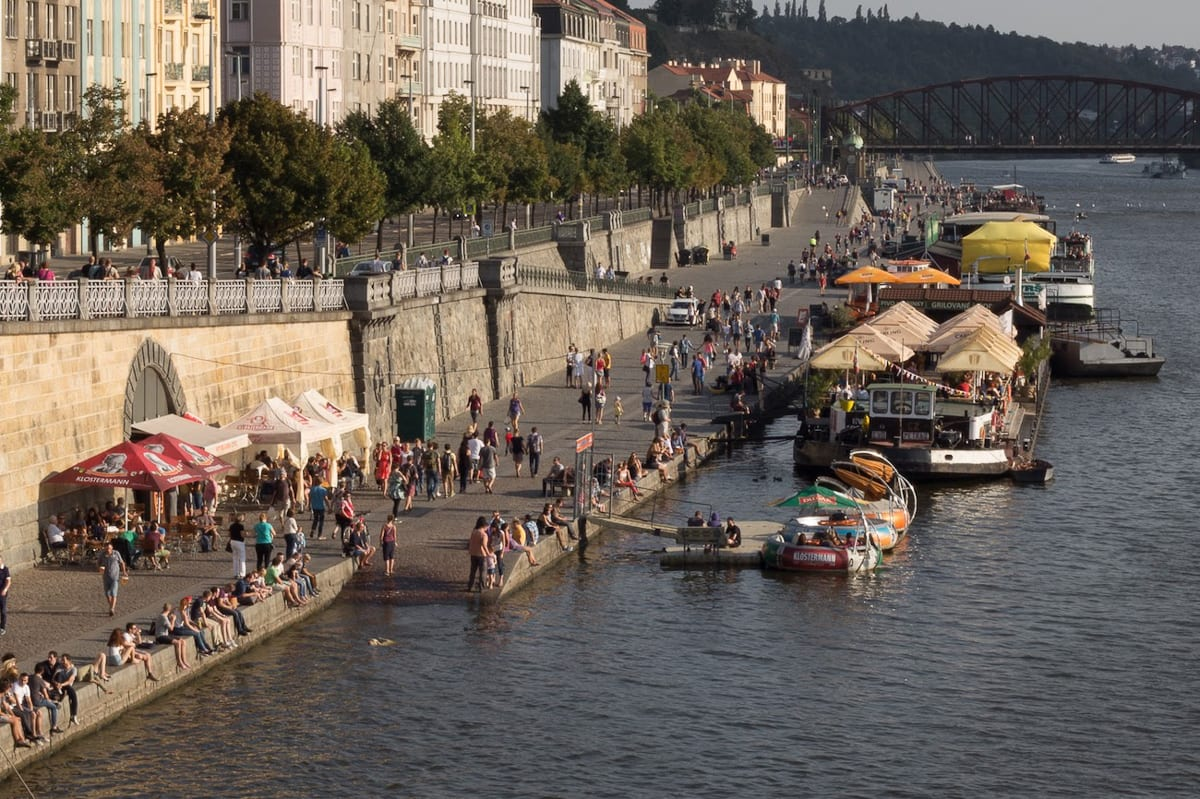 The Vltava River has many cafes and bars lining its sides, just a sample of the great Prague nightlife
