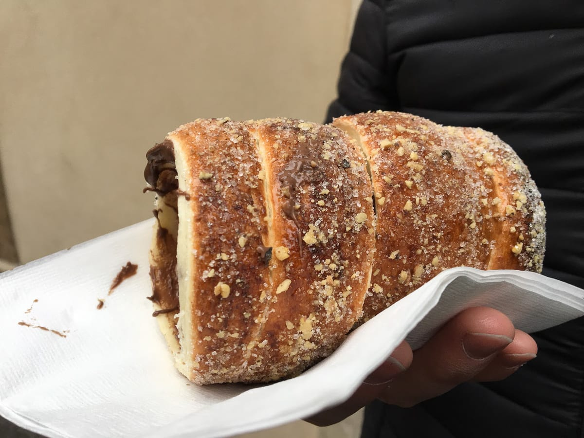 You must try Trdelnik when you visit Prague, a delicious pastry!
