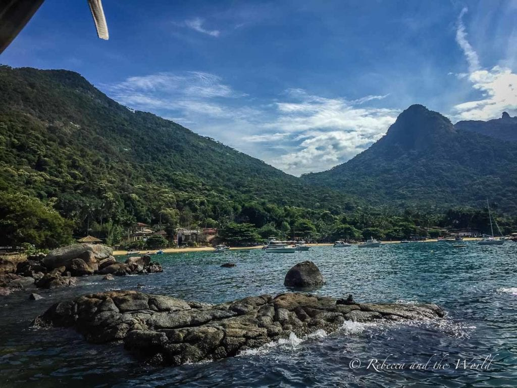 The first view of Ilha Grande, Brazil: lush green mountains
