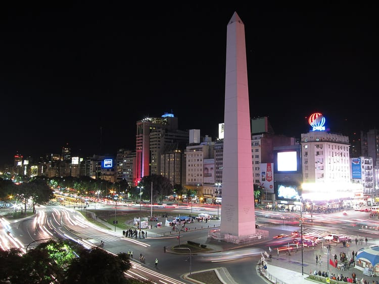 The Obelisk in Buenos Aires, Argentina, is one of the most photographed spots in the city