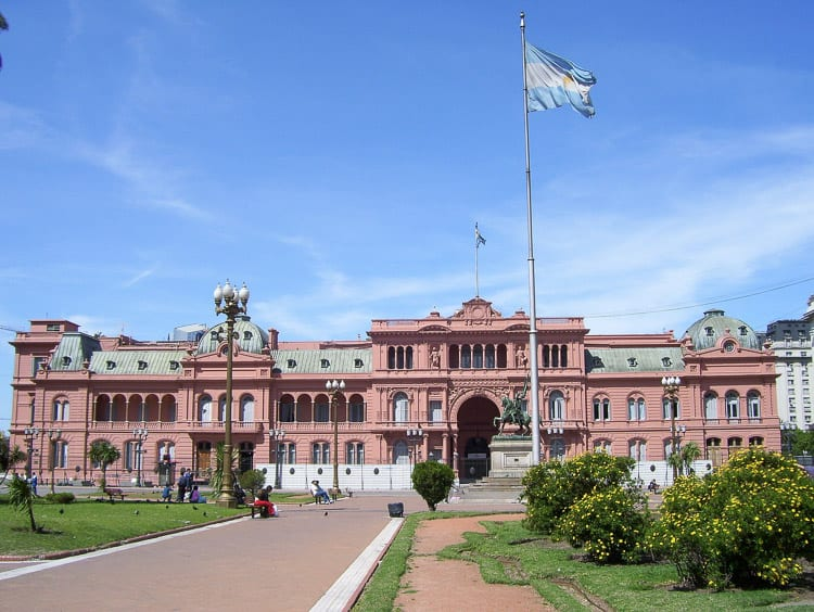 The pink-washed Casa Rosada is a great place in Buenos Aires, Argentina, for photos - and should be one of the first things to do in Buenos Aires for first-time visitors