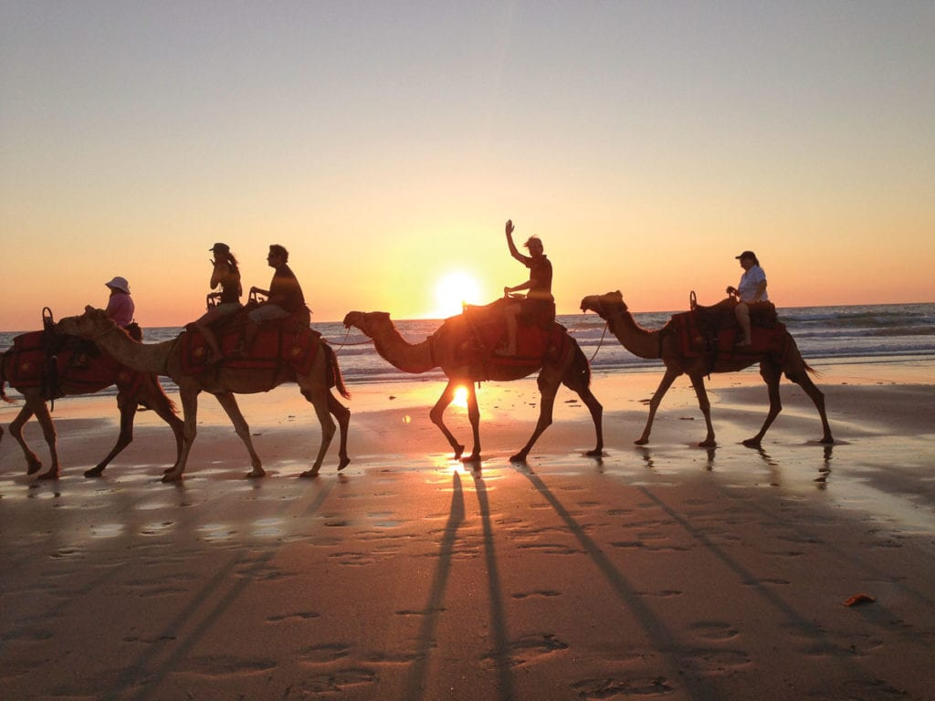 The silhouetted camels on Cable Beach in Broome, Western Australia is an iconic image of Australai