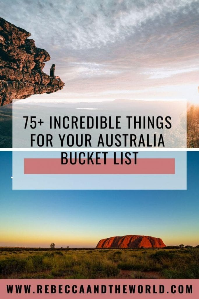 Planning a trip Down Under? Start with this ultimate Australia bucket list, which has more than 75 things to do in Australia. These adventures, activities and must-dos in the best places to visit in Australia will have you seeing the best of the country! #Australia #AustraliaTravel #ThingstodoinAustralia #AustraliaBucketList #TravelInspiration #AustraliaTravelIdeas