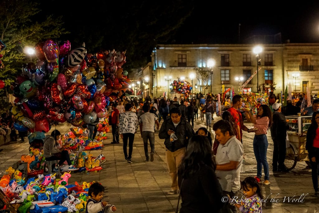 The Zocalo in Oaxaca is a fun place to hang out at night time