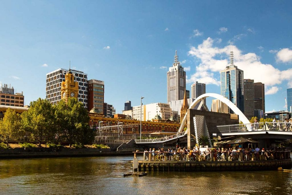 Ponyfish Island is a fun bar and cafe in the middle of the Yarra River in Melbourne
