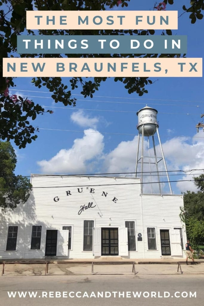 New Braunfels in Texas Hill Country is a great place to spend a long weekend. There are plenty of things to do here - wander historic Gruene, go shopping at the farmers market, tube down one of the city's two rivers or sip Texan wines. This guide shares the best things to do in New Braunfels, along with where to eat, where to stay and when to visit. | #newbraunfels #texas #hillcountry #gruene #gruenehall #thingstodoinnewbraunfels #weekendtrip #travelguide