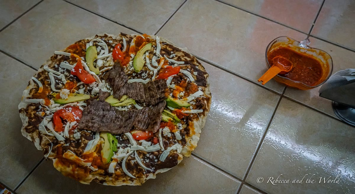 Oaxacan food is incredible, including tlayudas, which is often called a Mexican pizza