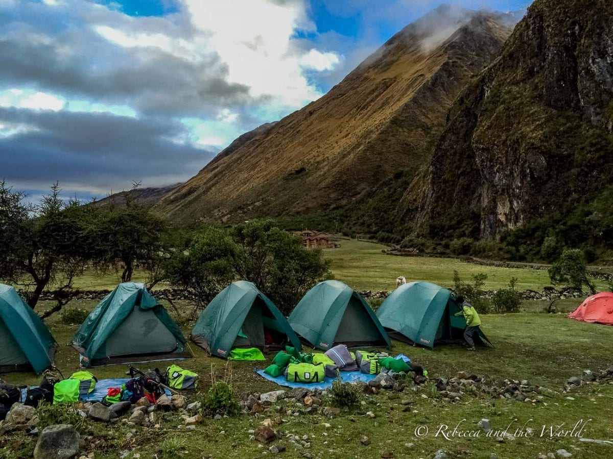 Hiking the Salkantay Trek to Machu Picchu in Peru means some photogenic camping spots along the way