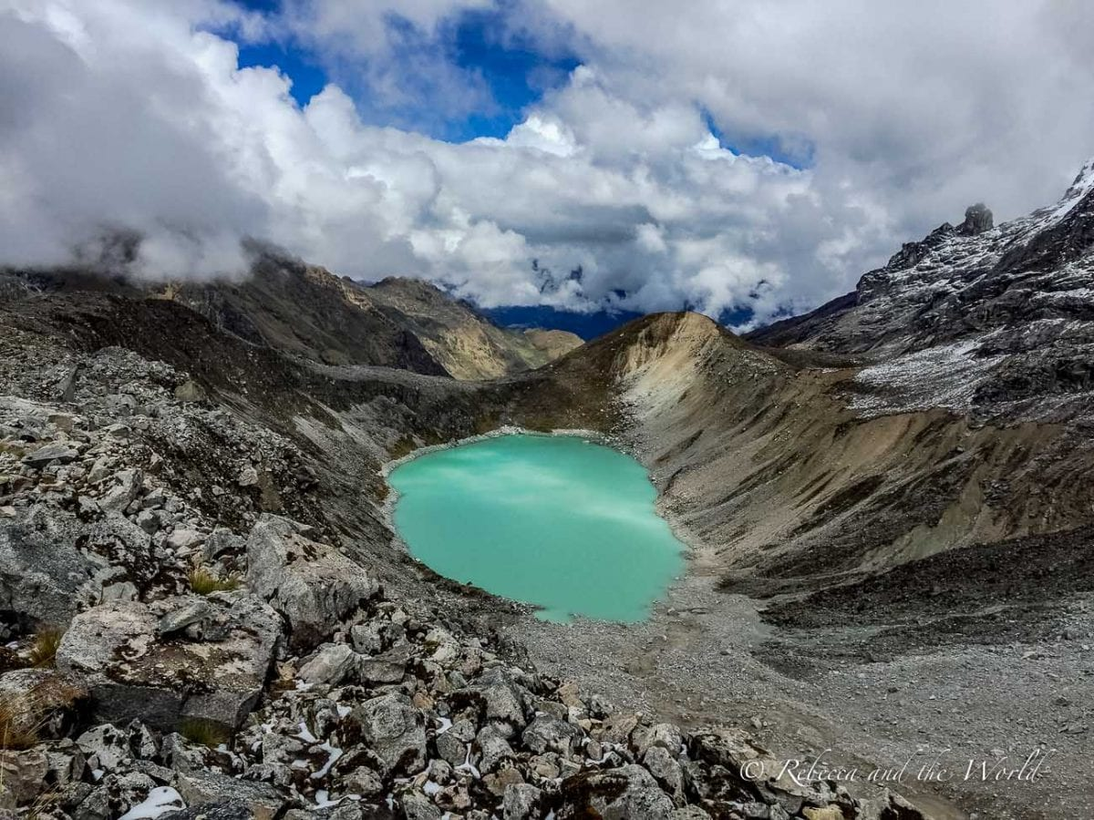 There are several blue and green lakes along the Salkantay Trek to Machu Picchu - and you'll need a camera to capture the beauty