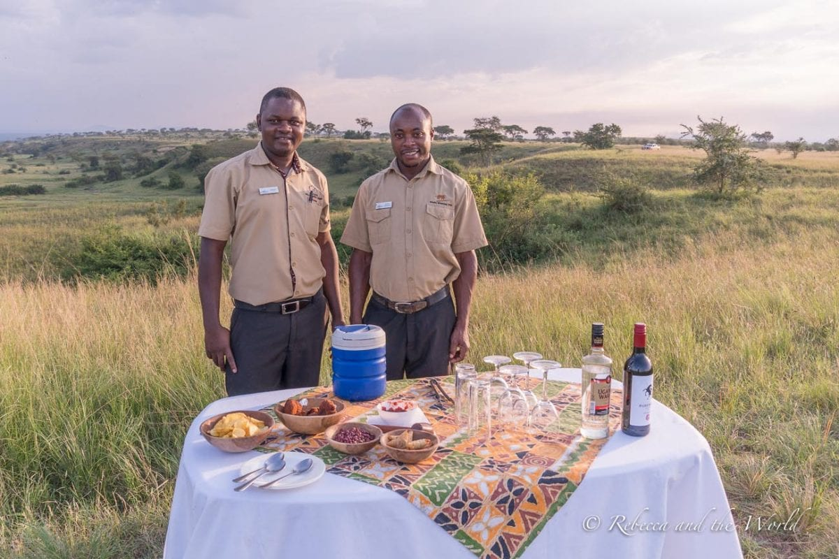 Ishasha Wilderness Camp prepapred a wonderful private sundowner experience for me in Queen Elizabeth National Park