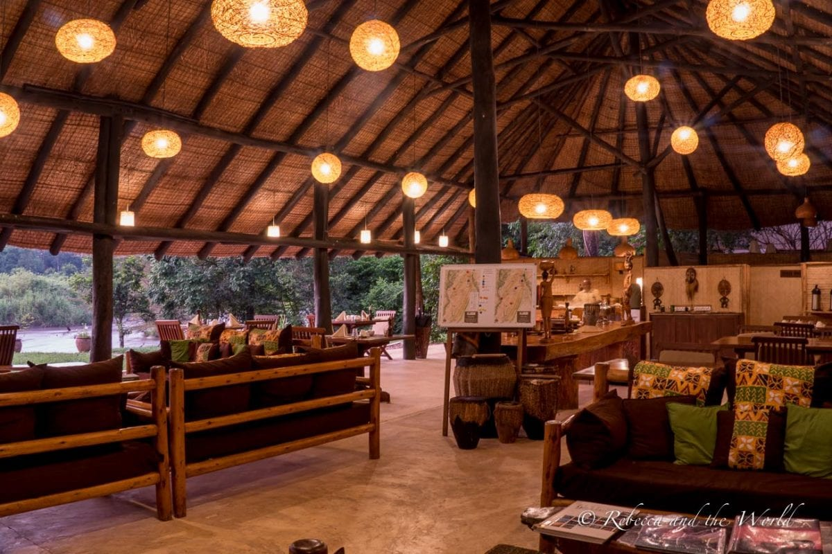 The main room where meals are served at Ishasha Wilderness Camp in Uganda