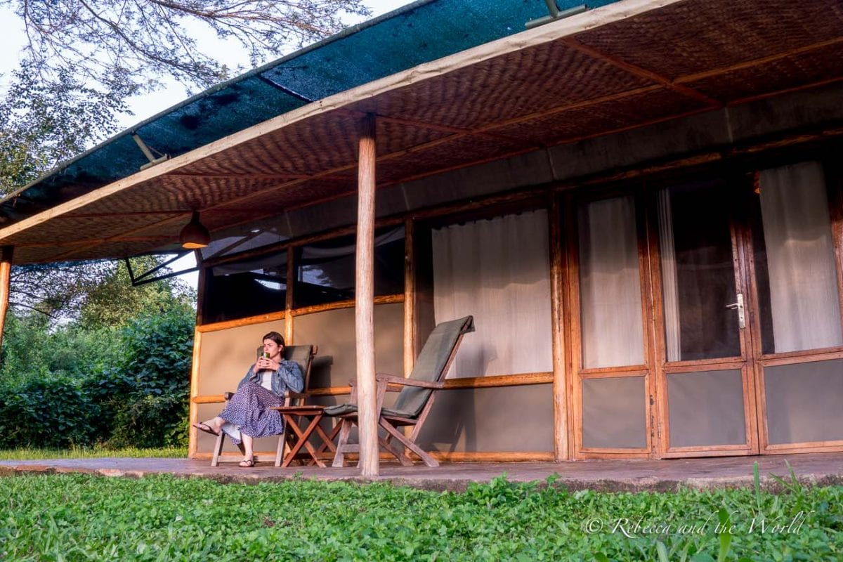 The safari tents at Ishasha Wilderness Camp are spacious, with a verandah overlooking the river
