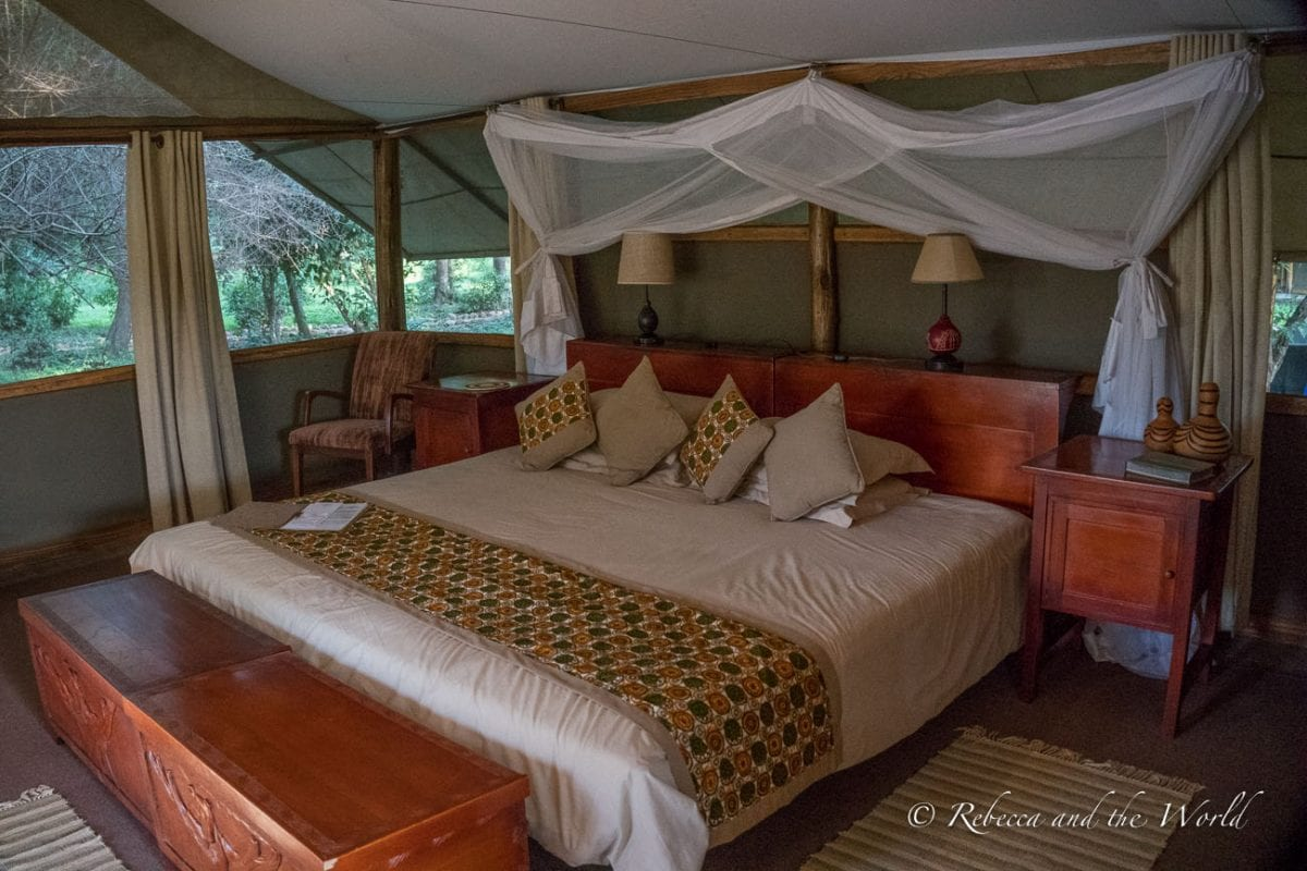 The beds are huge at Ishasha Wilderness Camp in Uganda