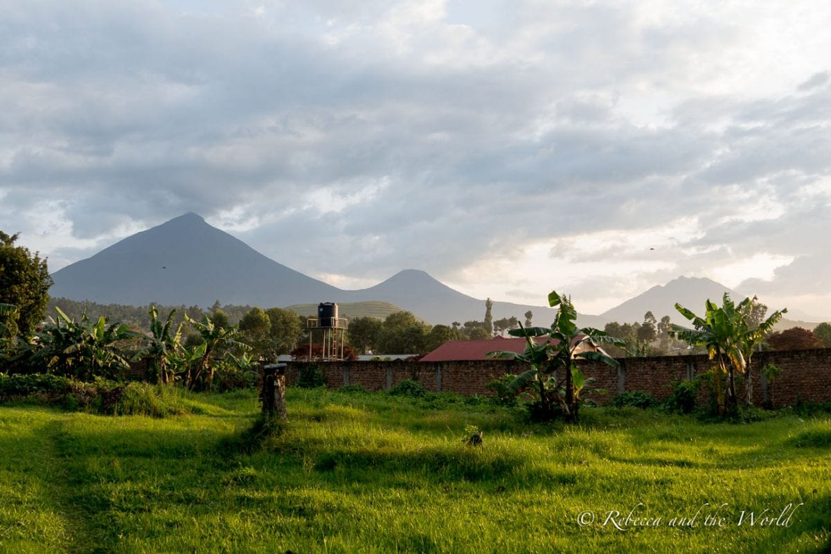 Behind the Travellers Rest Hotel in Kisoro, Uganda, you can catch a glimpse of the Virunga Mountains