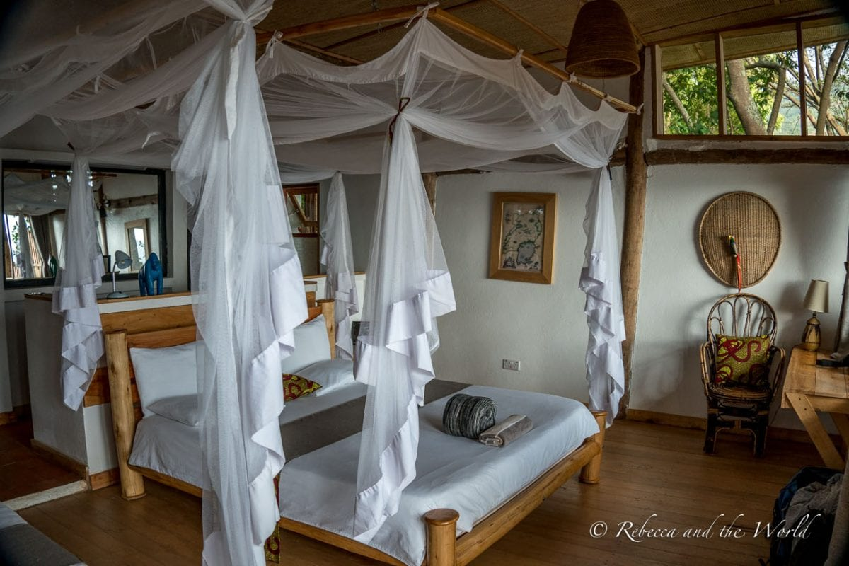 I loved the fresh, modern rooms at Mutanda Lake Resort in Uganda
