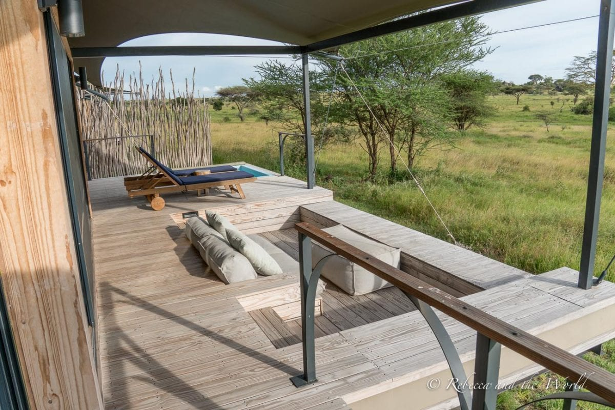 Each safari tent at Lemala Nanyukie has a huge deck that overlooks the surrounding grassland