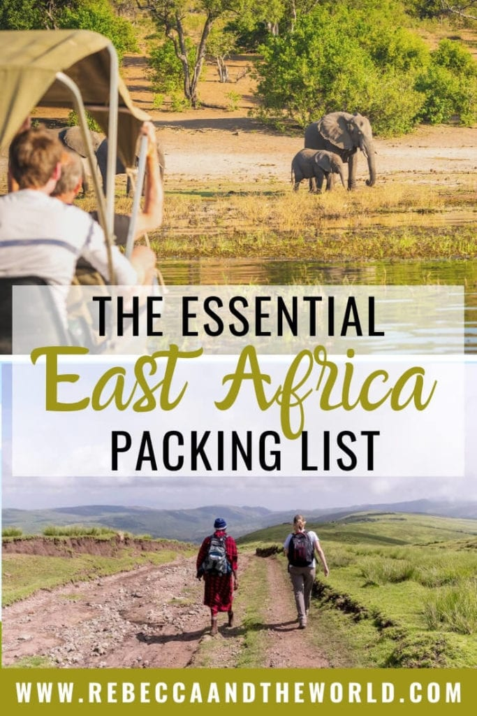 Heading to East Africa for a bucket-list safari? Find out what to wear on safari and what to pack with this detailed East Africa packing list. It includes tips what to include on your safari packing list, as well as what to wear beyond safaris. | #EastAfrica #packinglist #AfricaPackingList #Tanzania #Rwanda #Kenya #Uganda #SafariPackingList