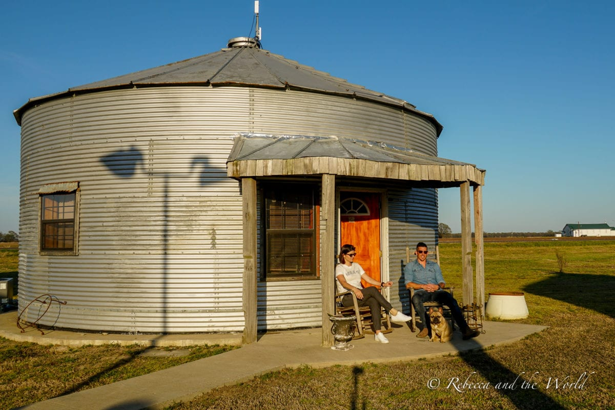 One of the grain bin accommodations at the Shack Up Inn in Clarksdale, MS