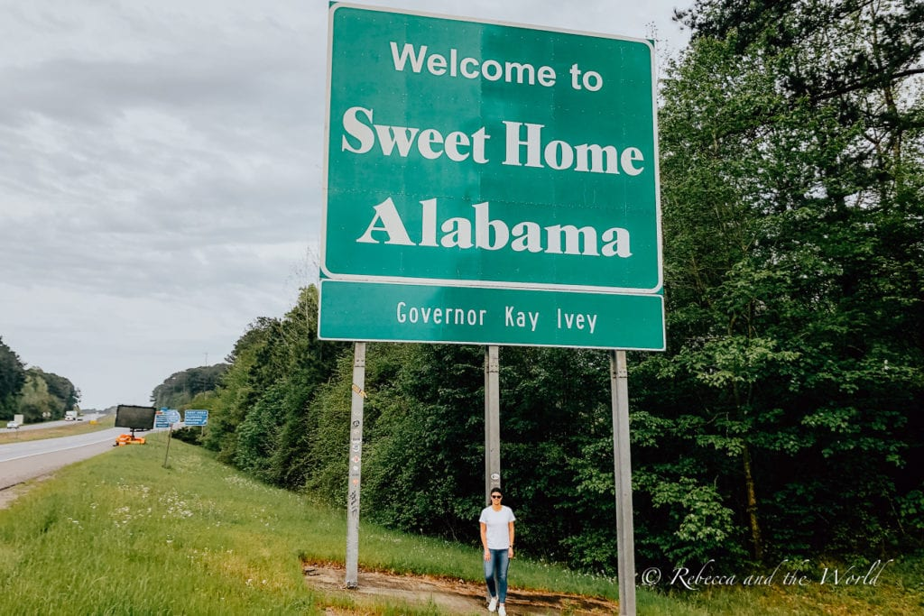Stop in Alabama on your Deep South road trip - make sure to get a photo at the state border
