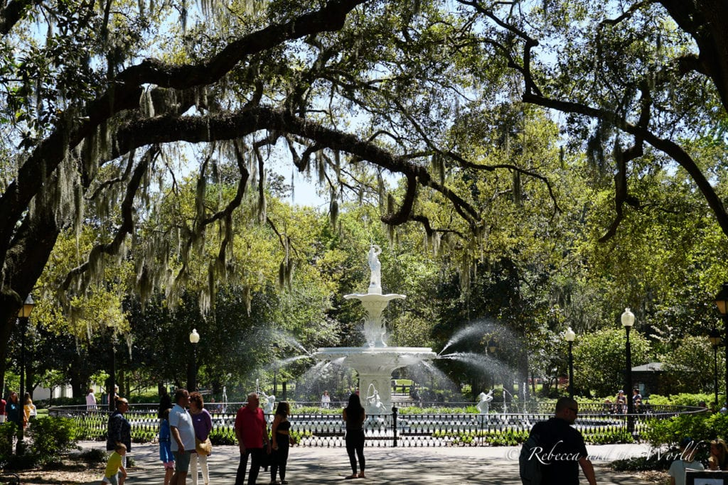 Savannah is one of the most beautiful places to visit in the Deep South, with gorgeous gardens, squares and fountains