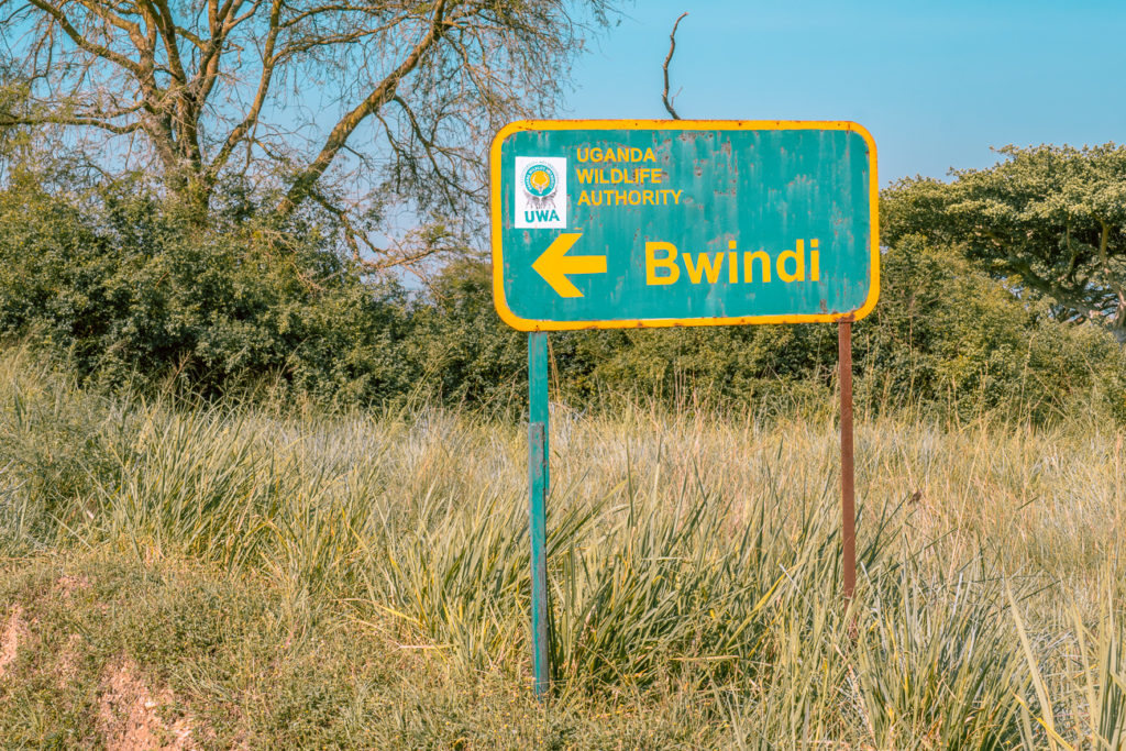 The sign to Bwindi Impenetrable Forest, one of the most popular places to see gorillas in Uganda